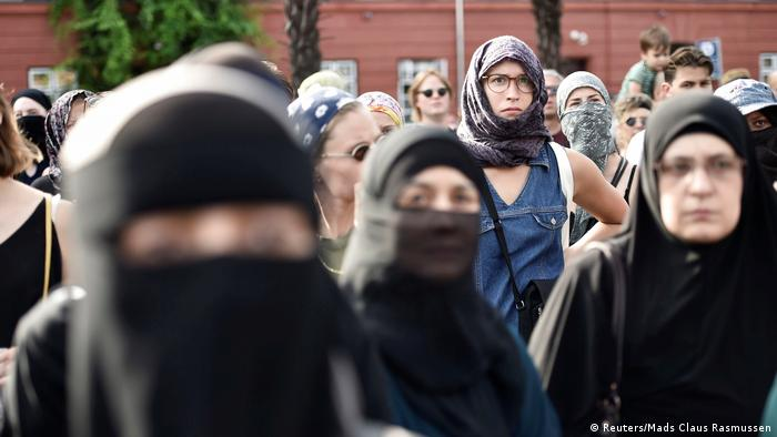 Danish women wearing niqabs during a demonstration