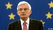 New European Parliament President Jerzy Buzek of Poland, speaks after his election at the European Parliament in Strasbourg, eastern France Tuesday, July 14, 2009. (AP Photo/Christian Lutz)