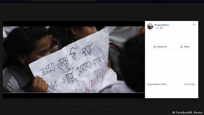 Bangladesch Studenten Protest auf Facebook für mehr Sicherheit im Straßenverkehr (Facebook/R. Romio)