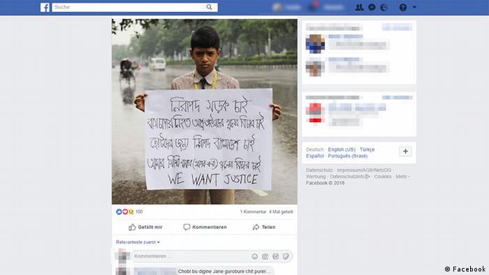 Bangladesch; Studenten; Straßenverkehr; Unfall; Verkehr; Sicherheit (Facebook)