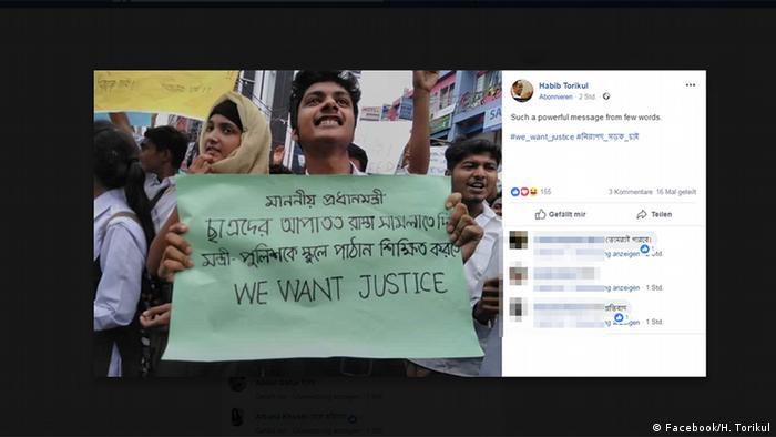 Bangladesch; Studenten; Straßenverkehr; Unfall; Verkehr; Sicherheit (Facebook/H. Torikul)