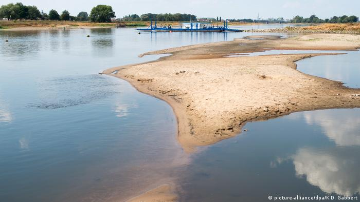 Sandbars are visible in the middle of the Elbe River in Saxony-Anhalt due to low water levels