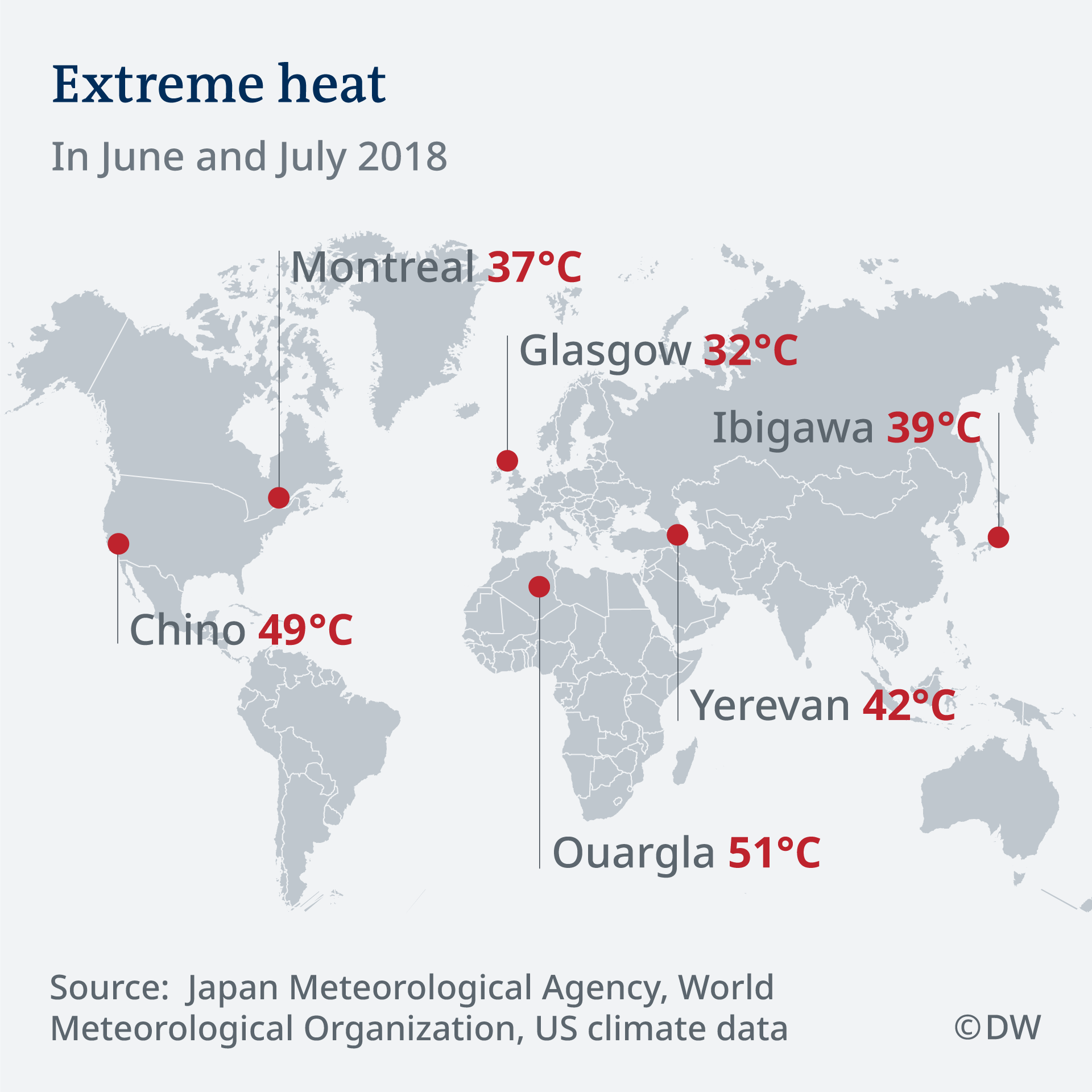Infografik Karte Extreme Hitze EN