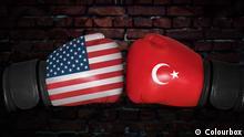 Amerikanische und Türkische Flagge