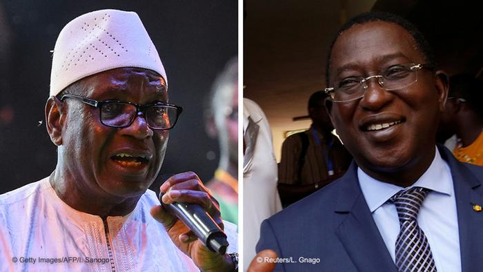 President Ibrahim Boubacar Keita (left) and and his challenger Soumaila Cisse
