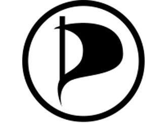 logo of the Pirate Party, a black flag on flag pole