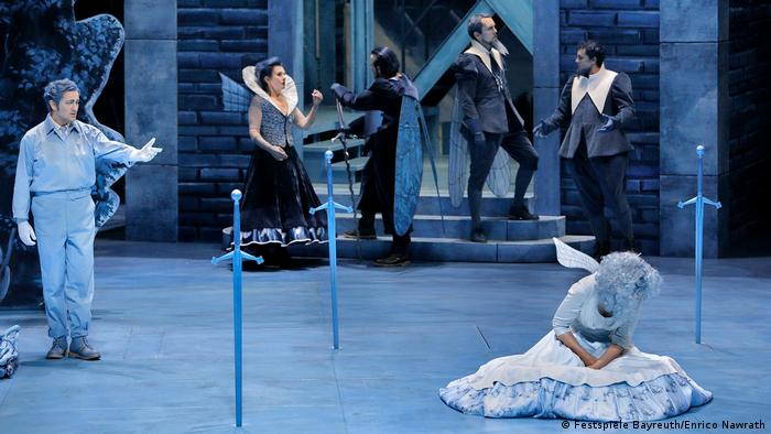 Piotr Beczala, clad as a mechanic, in the current Bayreuth Festival production of Lohengrin