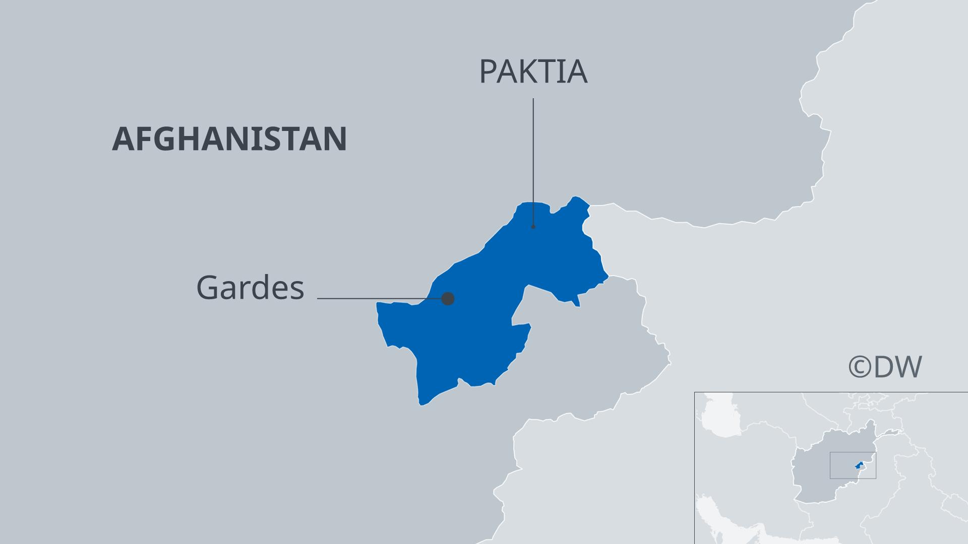 Infografik Karte Afghanistan mit Provinz Paktia und der Provinzhauptstadt Gardes DE
