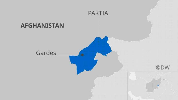 Infografik Karte Afghanistan mit Provinz Paktia und der Provinzhauptstadt Gardes DE Master quer