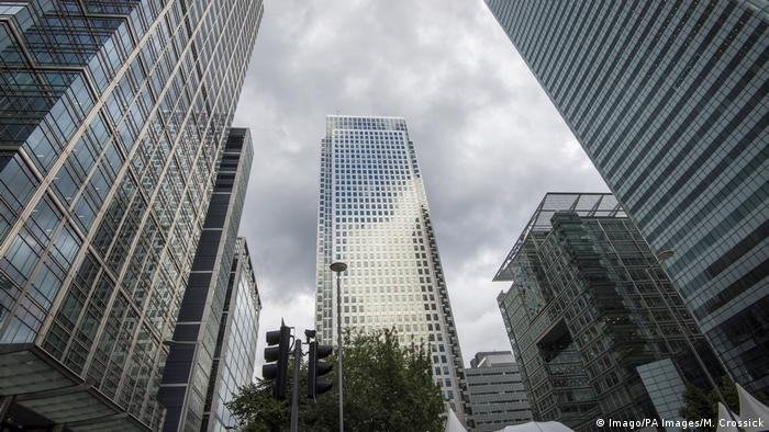 General view of One Canada Square in Canary Wharf, London, which houses the offices of the EMA