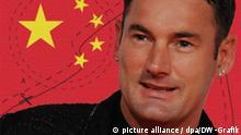 Montage der Modedesigner Michael Michalsky mit der chinesischen Flagge