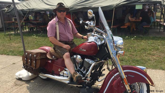 Micheal Suffenfield on a motorcycle at the Deutsch-amerikanisches Volksfest (DW/B. Knight )