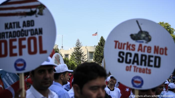 Protests in Ankara, Turkey, against US sanctions