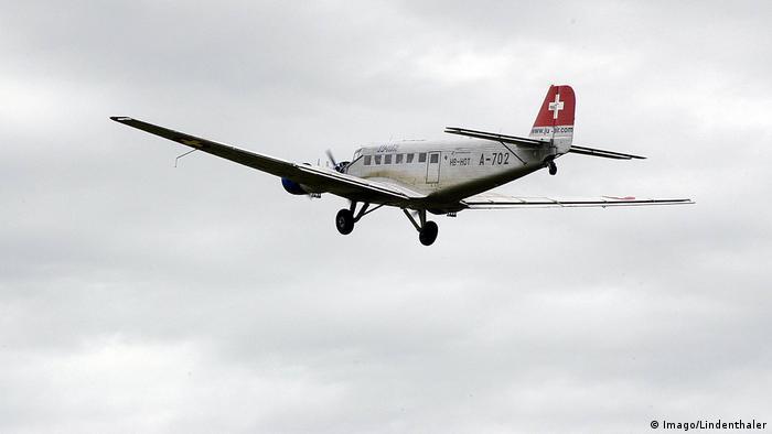 JU 52 flying over Oberschleissheim in Switzerland