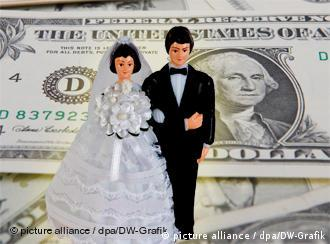 Married couple with dollar note as background