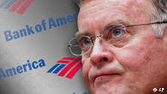 Kenneth Lewis headshot, as Bank of America Corporation chairman and CEO, over logo, partial graphic