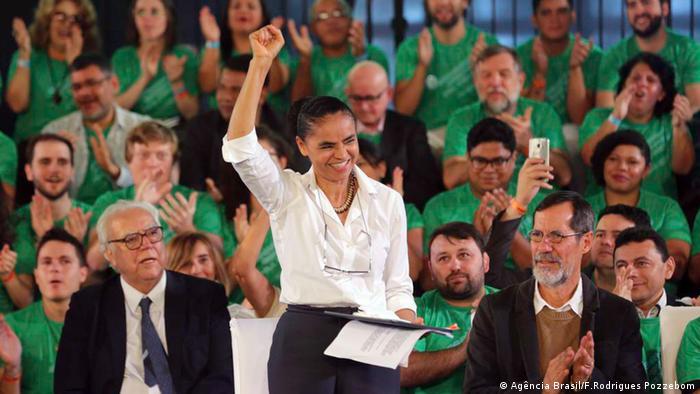 Marina Silva, ao lado de seu vice, Eduardo Jorge, em convenção no sábado