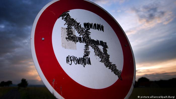 Swastika daubed on a road sign