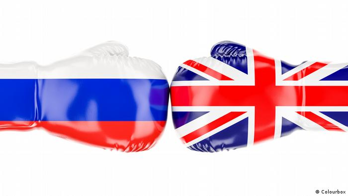 boxing gloves with British and Russian flags
