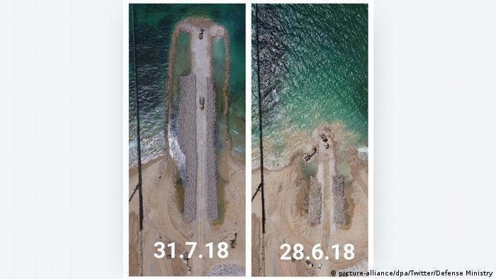 تصویری ماهوارهای از مانع دریایی نوار غزه