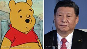Bildkombo: Winnie Pooh und Xi Jinping