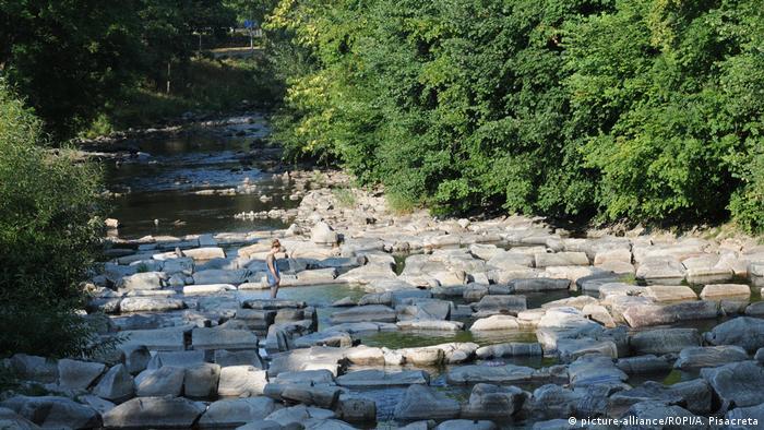Freiburg - Dürre im Flussbett der Dreisam