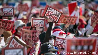Südkorea Seoul - Proteste gegen Sexismus und versteckte Kamera-Pornographie