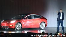 Elon Musk mit Tesla-Modell
