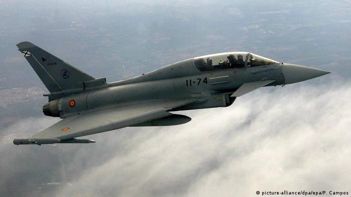 A Eurofighter jet flying over Spain