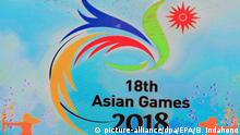 epa04921699 The logo of the Asian Games show in giant monitor during a launch ceremony in Jakarta, Indonesia, 09 September 2015. Indonesia to become host of the 18th Asian Games 2018, in the capital and Palembang, South Sumatera, the Games will be held from August to September 2018. EPA/BAGUS INDAHONO |