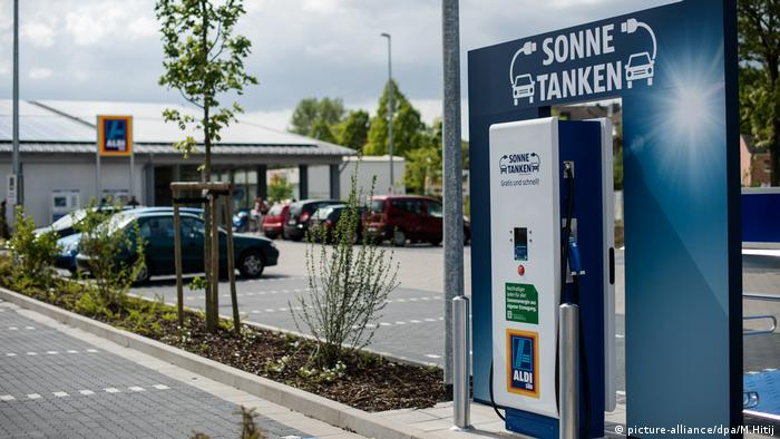 An electric car charging station in Düsseldorf