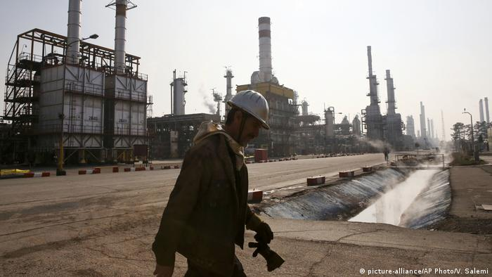 Iranian oil worker in a refinery south of Tehran
