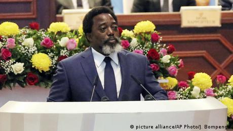 Joseph Kabila bei einer Rede vor dem kongolesischen Parlament (picture alliance/AP Photo/J. Bompengo)