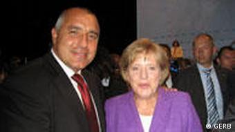 Herrn Boiko Borissov mit Frau Angela Merkel bei dem Parteikongress von CSU in Nürnberg vom 17.07.2009