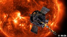 Artist's concept of the Parker Solar Probe spacecraft approaching the sun. Launching in 2018, Parker Solar Probe will provide new data on solar activity and make critical contributions to our ability to forecast major space-weather events that impact life on Earth.