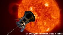 Credit: NASA/Johns Hopkins APL/Steve Gribben Artist's concept of the Parker Solar Probe spacecraft approaching the sun. Launching in 2018, Parker Solar Probe will provide new data on solar activity and make critical contributions to our ability to forecast major space-weather events that impact life on Earth.