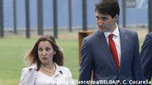 Belgien Brüssel - Justin Trudeau und Außenministerin Chrystia Freeland