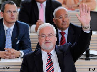 Schleswig-Holstein state premier Peter Harry Carstensen in the Kiel parliament