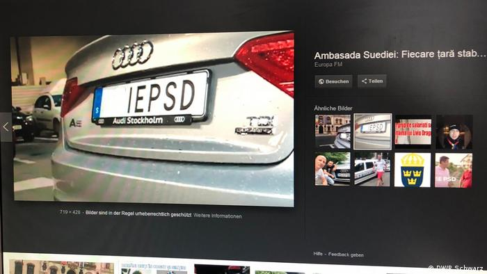 Rumänien,Bukarest, schwedisches KfZ-Nummernschild mit einer verdeckten Beschimpfung der rumänischen Regierungspartei PSD wird viral im Netz
