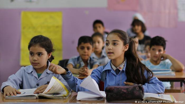 Syrian children at a school run by the UNRWA