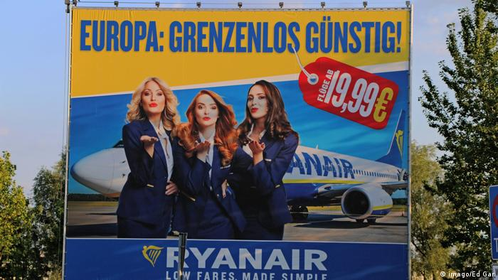 Ryanair ad billboard with three female flight attendants. (imago/Ed Gar)