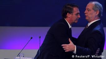 Ciro com Bolsonaro durante debate na TV em 2018