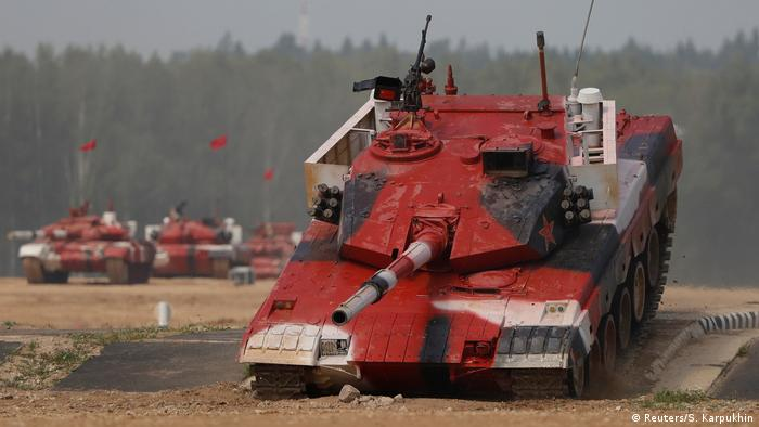 A tank operated by a crew from China during the tank biathlon. (Reuters/S. Karpukhin)