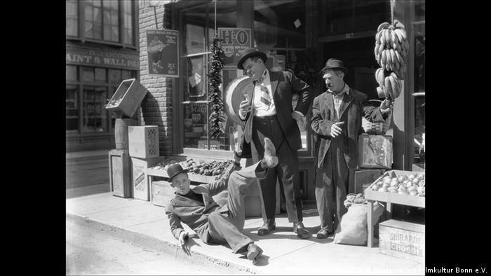 Film still with Laurel and Hardy (Förderverein Filmkultur Bonn e.V.)