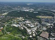 Vista aérea de DESY (2006): marcados están los aceleradores subterráneos  de partículas PETRA y HERA.