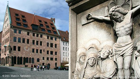 Барельеф на портале церкви Святого Себальда (Sebalduskirche) - самой старой из крупных церквей Нюрнберга, построенной в XII-XIV веках. Возведена на месте погребения покровителя Нюрнберга - отшельника Себальда (Sebaldus von Nürnberg), жившего, предположительно, в VIII веке. Согласно легенде, Себальд был сыном датского короля. Он расторг свою помолвку с французской принцессой, а после паломнической поездки в Рим стал послом христианской веры, в первую очередь, во Франконии. С 1525 года после Реформации церковь отошла лютеранской общине, но осталась местом захоронения католического святого. На заднем плане - городская резиденция патрицианской семьи Шюрштаб (Schürstabhaus)