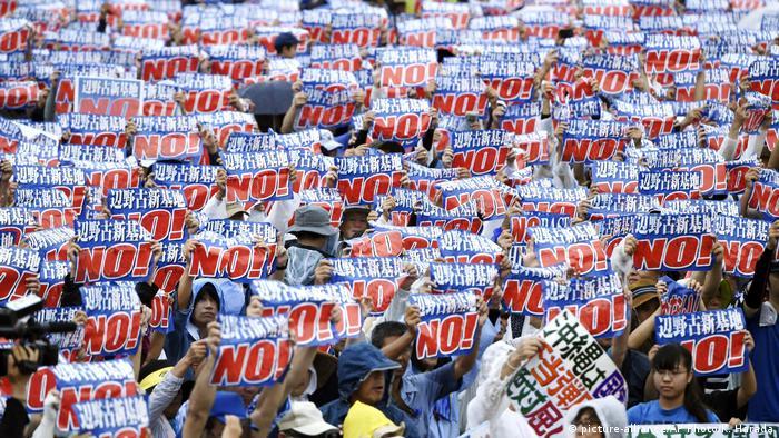 Japan Proteste Verlegung US-Militärstützpunkt