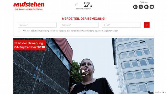 Screenshot der Website aufstehen.de
