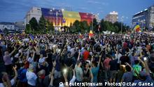 Thousands of Romanians joined an anti-government rally in the capital Bucharest, Romania August 11, 2018. Inquam Photos/Octav Ganea via REUTERS ATTENTION EDITORS - THIS IMAGE WAS PROVIDED BY A THIRD PARTY. ROMANIA OUT.