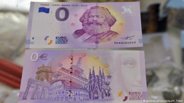 Deutschland Trier 200. Geburtstag Karl Marx | Null-Euro-Schein (picture-alliance/dpa/H. Tittel)